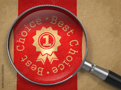 Magnifying Glass with Best Choice Concept.