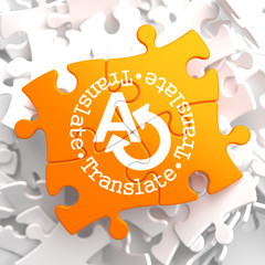 Translating Concept on Orange Puzzle.