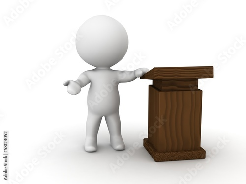 3D Man giving speech beside lectern