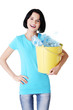 Attractive woman holding bin with plastic bottles. recycling.