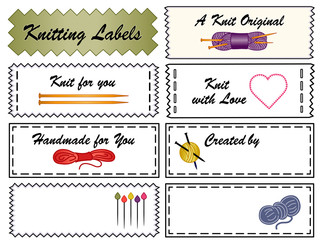 Knitting Sewing Labels, yarn, needles, do it yourself copy space