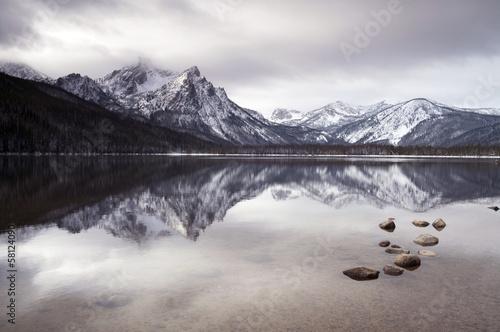 Sawtooth Mountain Lake Deep Winter Landscape Idaho NRA