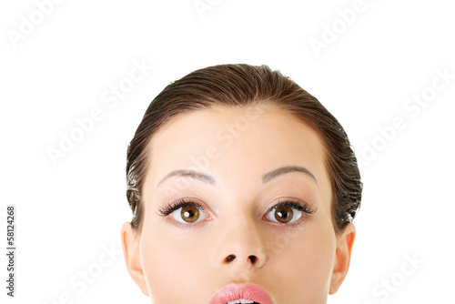 Attractive woman's face. Closeup.