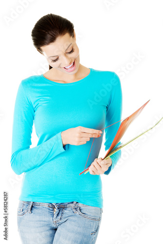 Attractive woman with files.