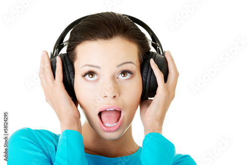 Attractive woman with headphones.
