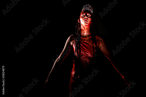 Scary Woman Dripping in Blood Wearing Prom Dress