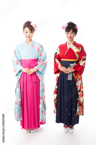 japanese kimono women on white background