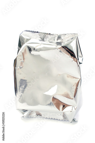 close up of an aluminum bag on white background