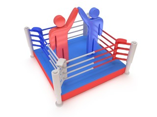 Two men on boxing ring. High resolution 3d render.