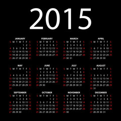 Calendar for 2015 on black background. Vector EPS10.