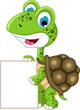 cute turtle cartoon with blank sign