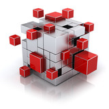 teamwork business concept - cube assembling from blocks