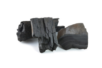 Piece of fractured wood coal on white background