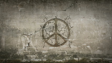 Peace symbol appearing in a urban wall