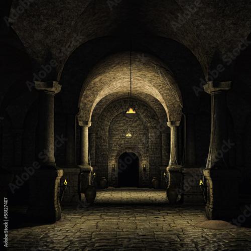 Średniowieczna piwnica z pochodniami