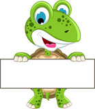 cute turtle cartoon holding blank sign