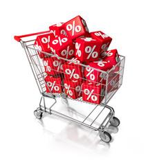 Einkaufswagen mit Prozentewürfeln