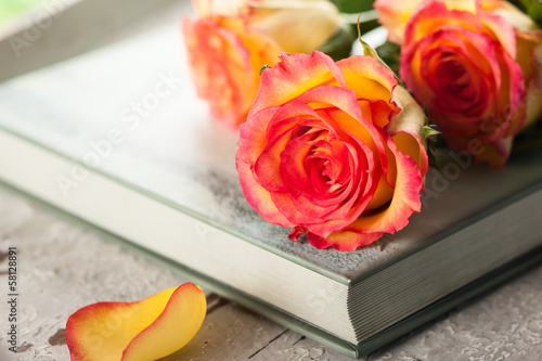 roses on a book