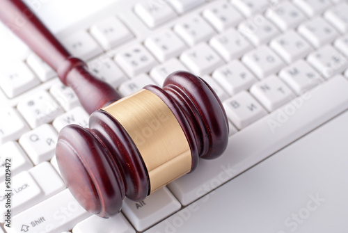 Gavel on a computer keyboard