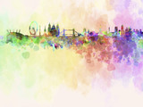 London skyline in watercolor background
