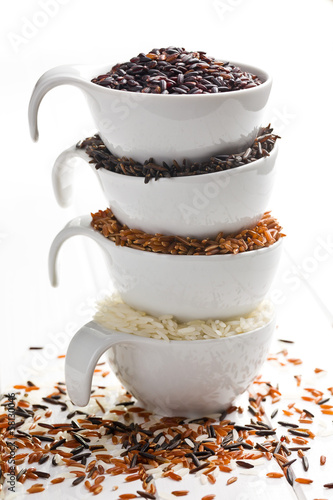 various rice in ceramic bowls