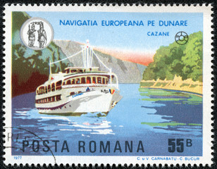 "pleasure boat ""Karpaty"" on the river Danube, near Cazane"