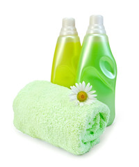Fabric softener in two bottles with chamomile