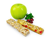 Granola bar with lingonberries and apple