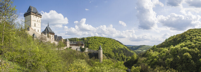 Karlstejn castle in summer, panoramatic view..