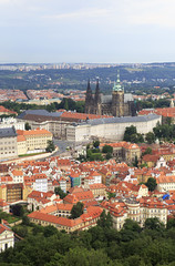 Saint Vitus Cathedral and Prague Castle. View from Petrin Lookou