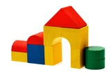 wooden blocks house on white