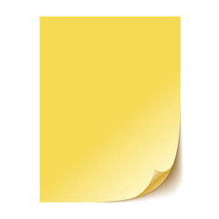 Empty yellow paper sheet. Vector EPS10