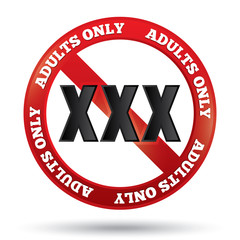 XXX adults only content sign.  Button.