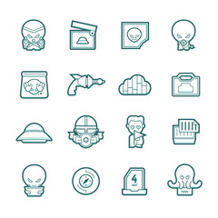 Science fiction icons set