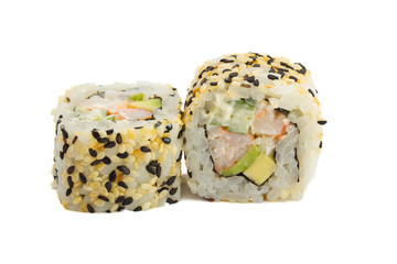 sushi roll with sesame isolated on white background
