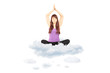 Young female athlete sitting on clouds and meditating