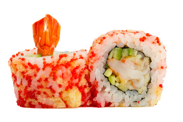 sushi roll with caviar and tempura isolated on white background