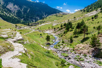 Beautifil landscape with mountain river in the Spanish Pyrenees