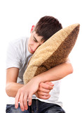 Teenager sleeps with Cushion