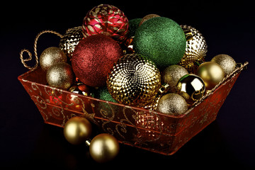 Christmas baubles in a basket