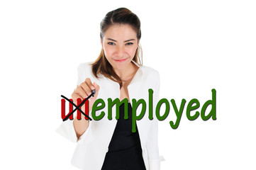 Change word of unemployed to employed