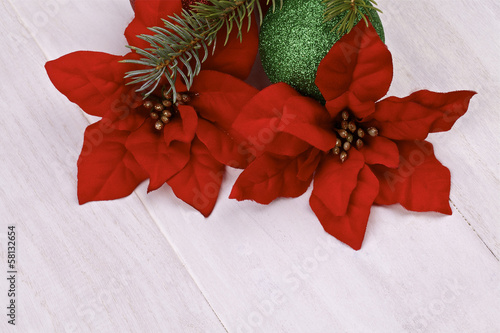 Christmas decoration.Poinsettia on a light background
