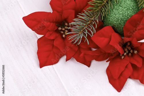 Christmas decoration.Poinsettia on a light background