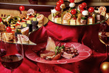 Delicious canapés and snacks for wine on the holiday table