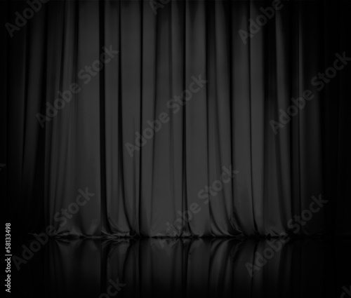 Fotobehang Stof curtain or drapes black background
