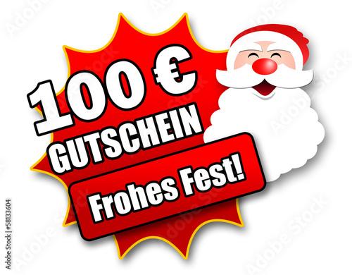 """Siegel """"100 Euro Gutschein - Frohes Fest!"""""""