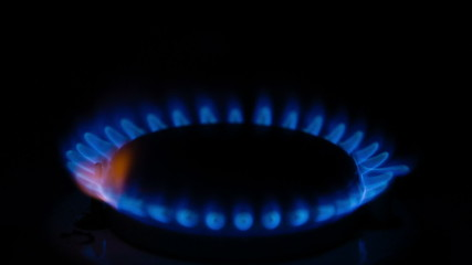 Burning flame on the gas stove