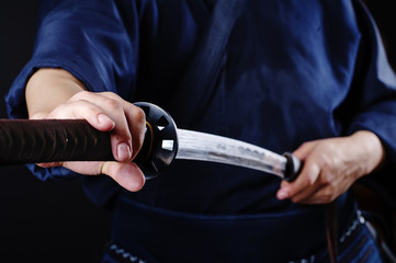 Kendo fighter with sword detail