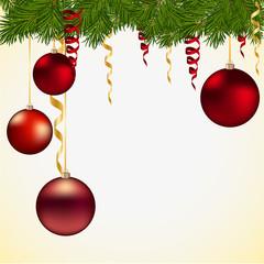 Новогодний фон с игрушками и елочными ветками