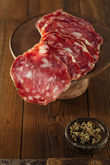 Finocchiona Salami on a wood with Fennel